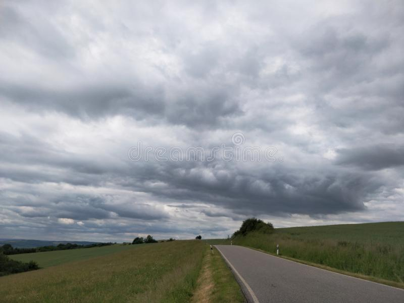 Rheinland-Pfalz countryside road in bad weather stock images