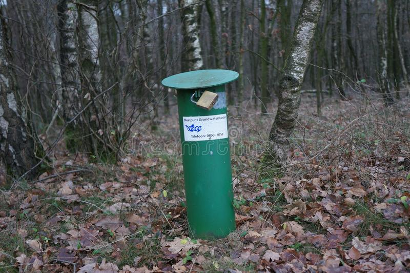 Ground water level measuring location. Rhenen, the Netherlands. December 2018. Location in a forest for measuring ground water levels, exploited by water utility royalty free stock photography