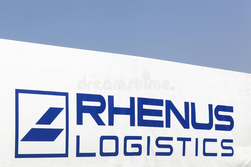 Rhenus logistics logo on a truck. Kamen, Germany - July 22, 2018: Rhenus logistics logo on a truck. The Rhenus Group is a German logistics company with stock photos