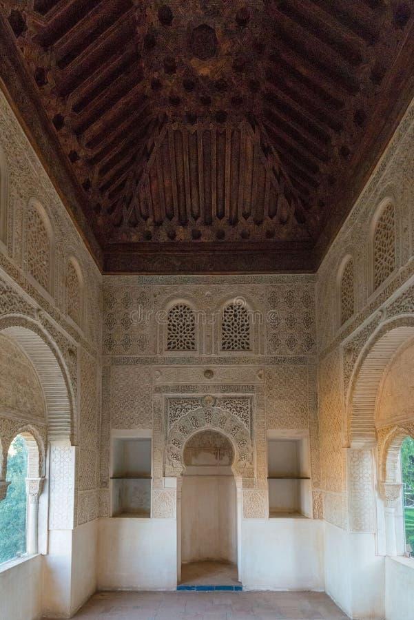 Rhetorik, Raum für Gebet, Nasrid-Paläste, Alhambra lizenzfreies stockbild