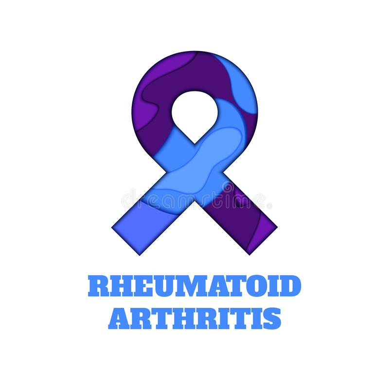 Rheumatoid arthritis awareness papercut ribbon. Rheumatoid arthritis awareness poster. Blue and purple ribbon made in 3D paper cut and craft style on white vector illustration