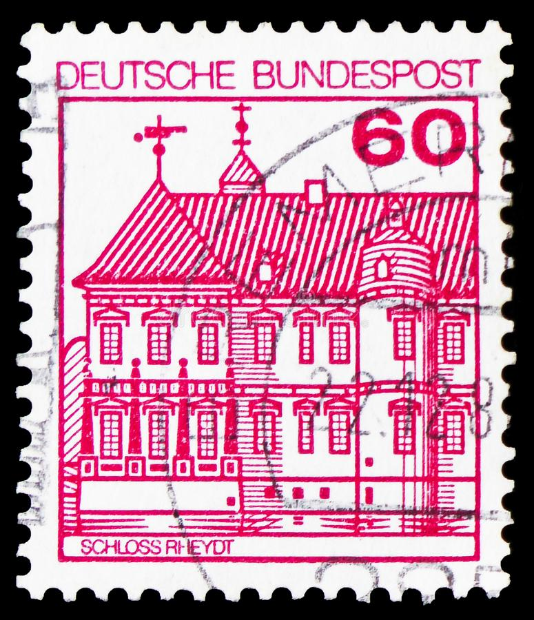 Rheydt Castle, Strongholds and Castles serie, circa 1979. MOSCOW, RUSSIA - FEBRUARY 20, 2019: A stamp printed in Germany, Federal Republic, shows Rheydt Castle stock images