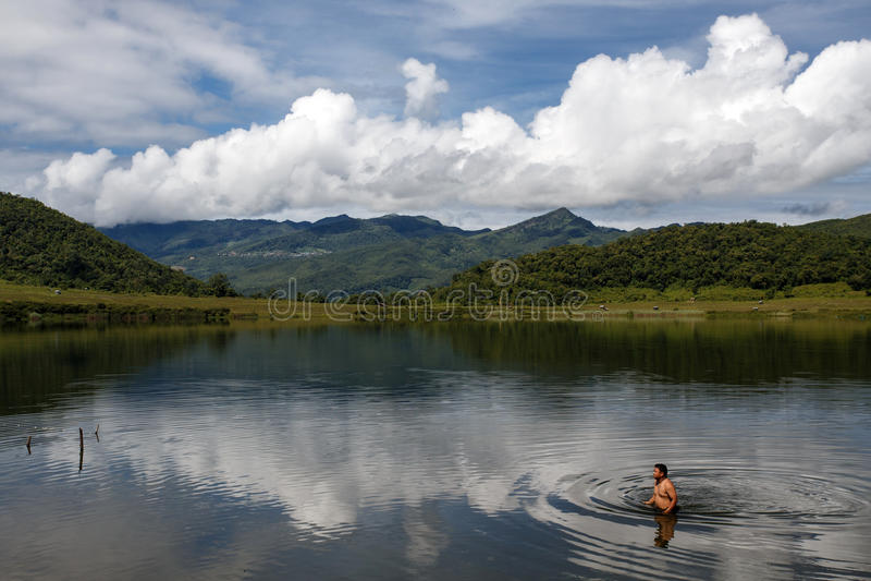 Rhi jezioro, Myanmar (Birma) zdjęcia stock