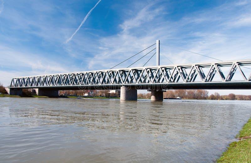 Rhine bridge in Karlsruhe, Germany. Rhine bridge Maximiliansau in Karlsruhe, Germany stock photography