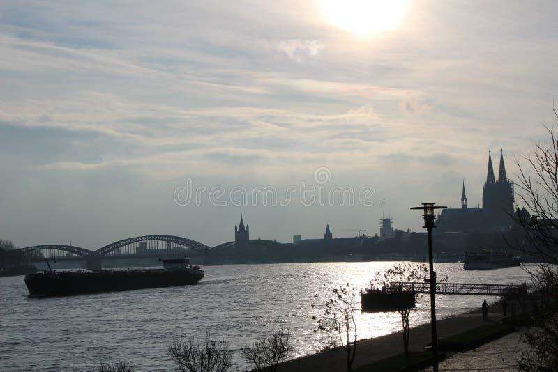 Ship on the Rhine River stock photo