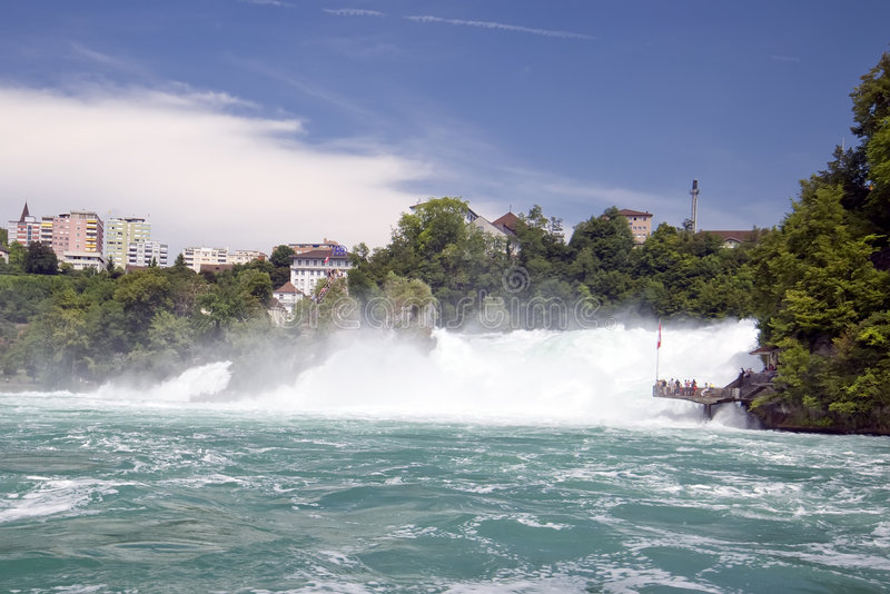 Rhine cai em Schaffhausen fotos de stock