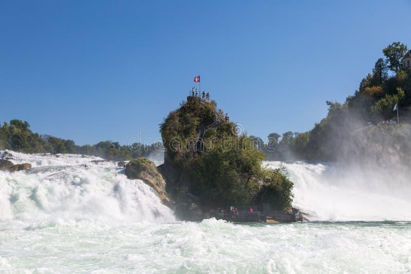 Rhine cai em Switzerland fotos de stock