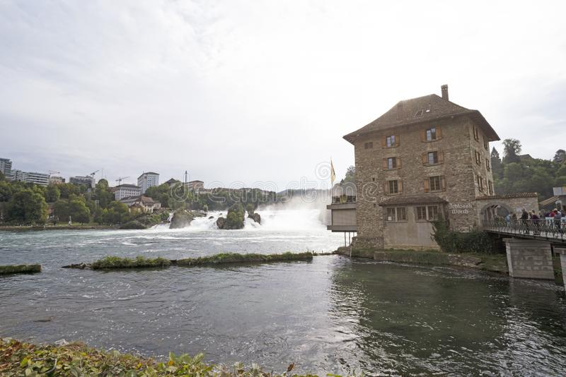 The Rhine Falls in north of Zurich. This natural of Switzerland 22 September 2019 for background stock photography