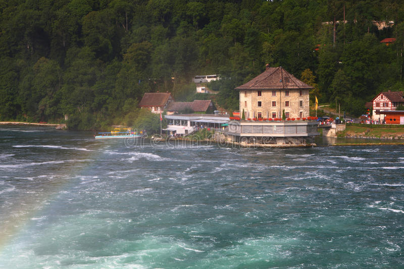 Download Rhine Falls with rainbow stock image. Image of traveller - 33237045