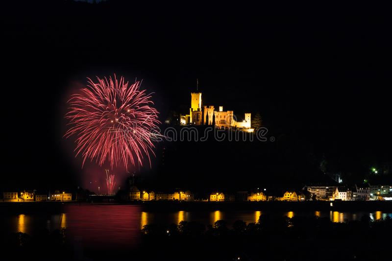 Rhine in flames in front of the castle Stolzenfels near Koblenz royalty free stock image