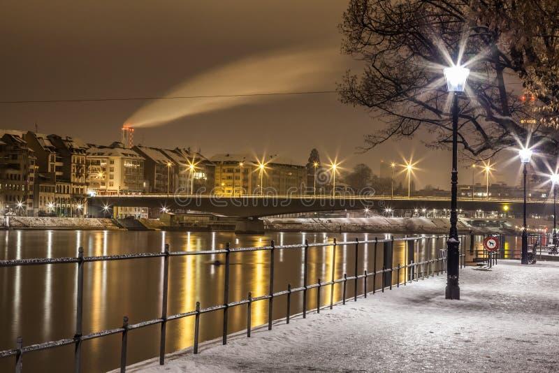 Rhine River Basel, Schweitz arkivbilder
