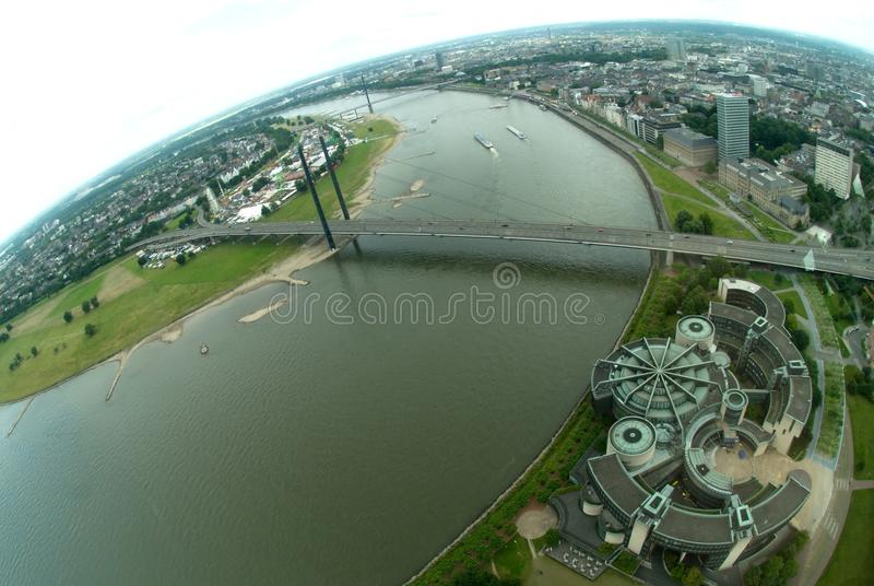 Rhine River In Dusseldorf Editorial Stock Photo