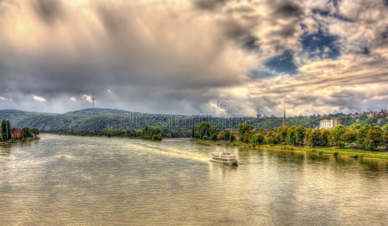 Rhine River perto de Koblenz imagem de stock