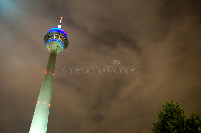 Download Rhine Tower at night stock photo. Image of lighting, cloudy - 5805640