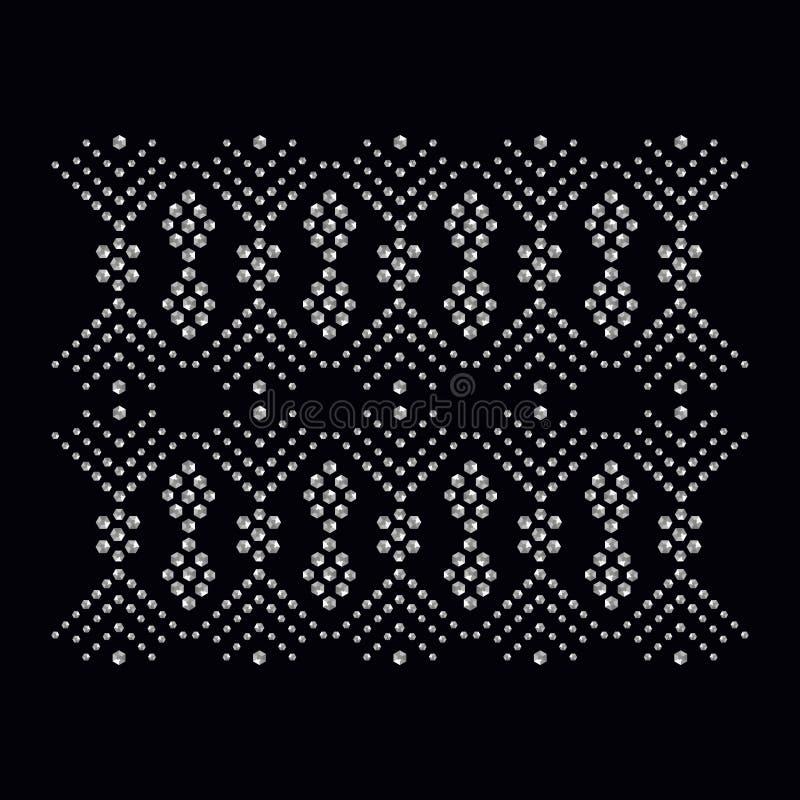 Rhinestone aplikacyjny druk dla tkaniny odziewa w moda luksusie ilustracji