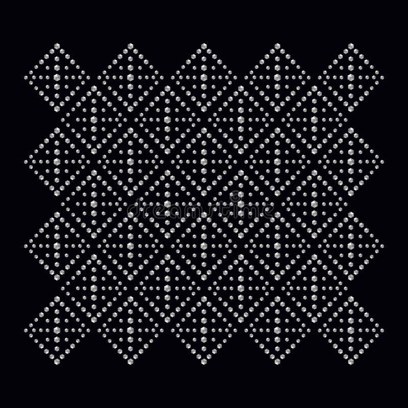 Rhinestone aplikacyjny druk dla tkaniny odziewa w modzie ilustracji