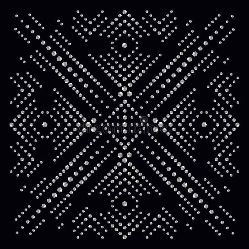 Rhinestone applique print for textile clothes in fashion luxury stock illustration