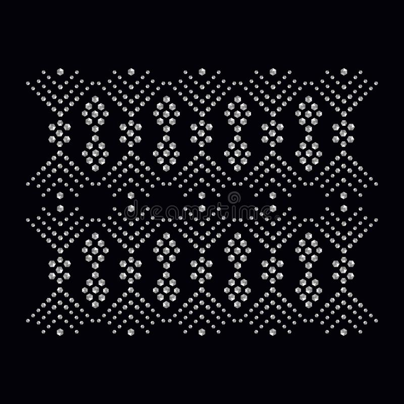 Rhinestone applique print for textile clothes in fashion luxury. Design. Trendy vector crystal studs embellishment with brilliants for apparel. Jewelry ornament stock illustration