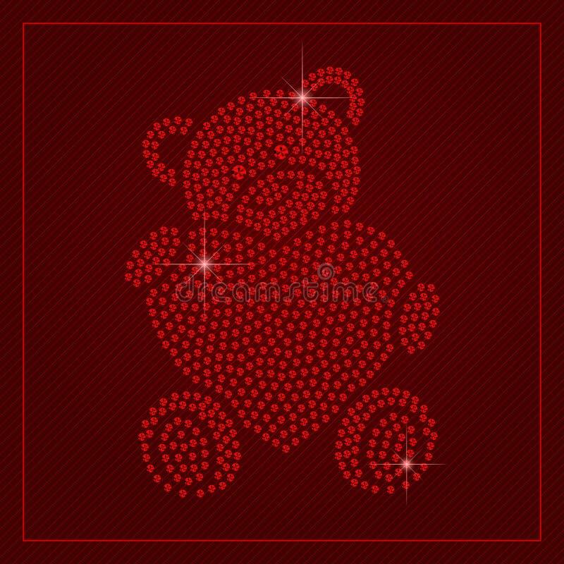 Rhinestone Valentines Day Template royalty free illustration