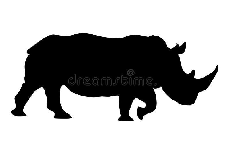 Rhino. Black silhouette stock illustration