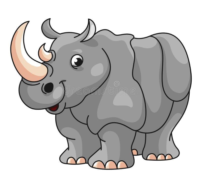 Cute Lion Mascot Cartoon Illustration Animal Wildlife Icon Concept: Charging Rhino Stock Vector. Illustration Of Dust, Beast