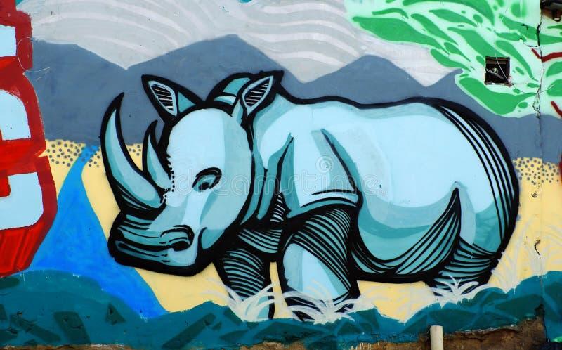 Rhino by graffiti art, Rhinoceros painting royalty free stock images
