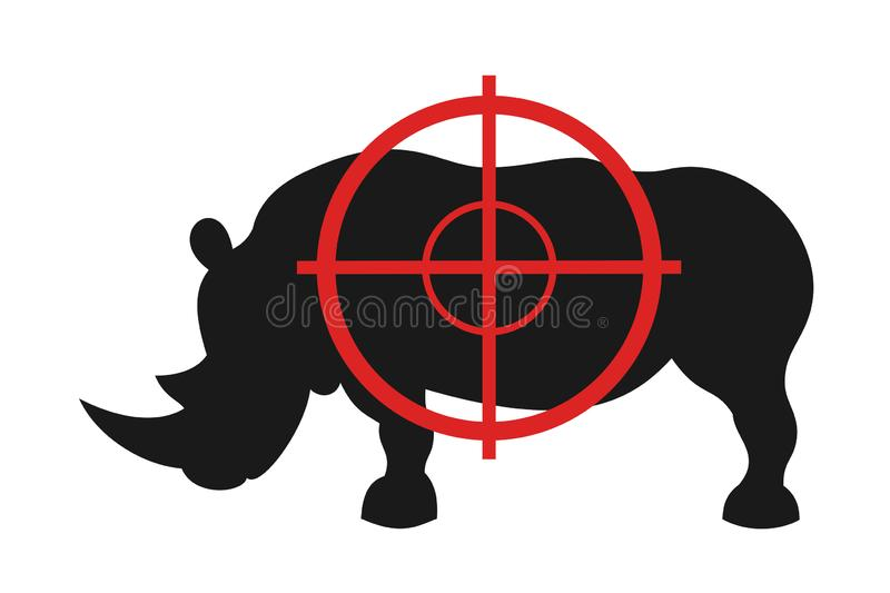 Rhino and gunsight - animal is going to be killed gun and weapon. Hunter`s device for hunting. Vector illustration royalty free illustration