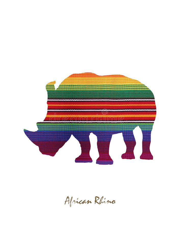 Rhino image with colored lines stock photography
