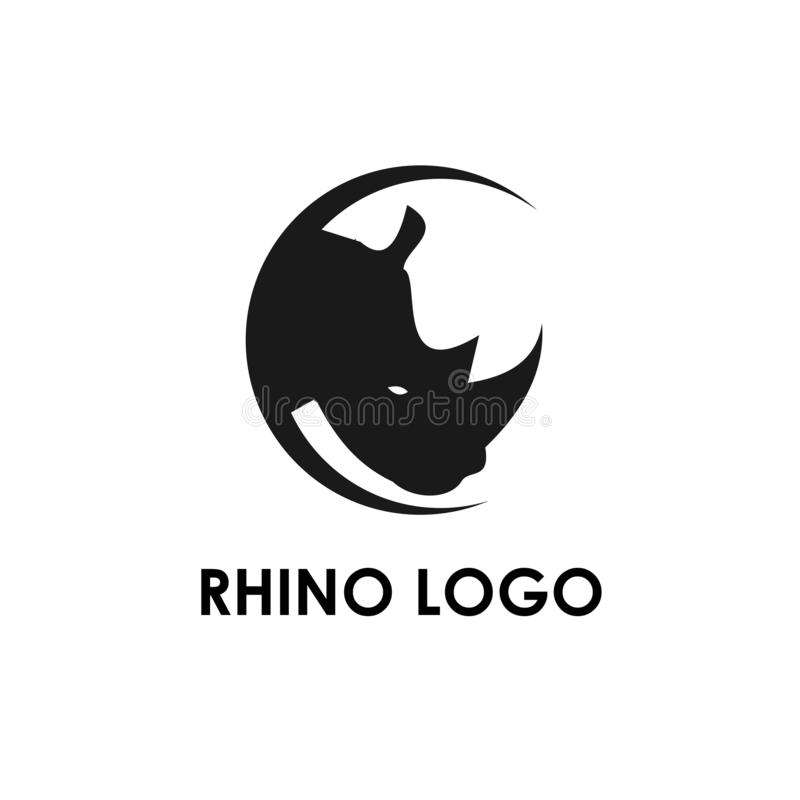 Rhino logo template, design vector icon illustration. Head, abstract, africa, african, aggression, alphabet, angry, animal, art, background, beast, black stock illustration