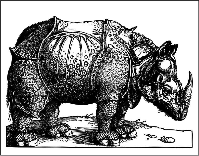 Rhino Old Engraving Royalty Free Stock Image
