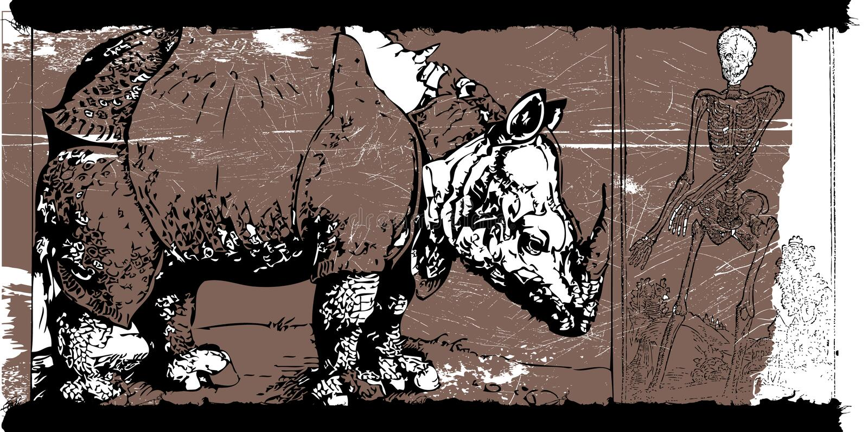 Rhino and skeleton royalty free illustration
