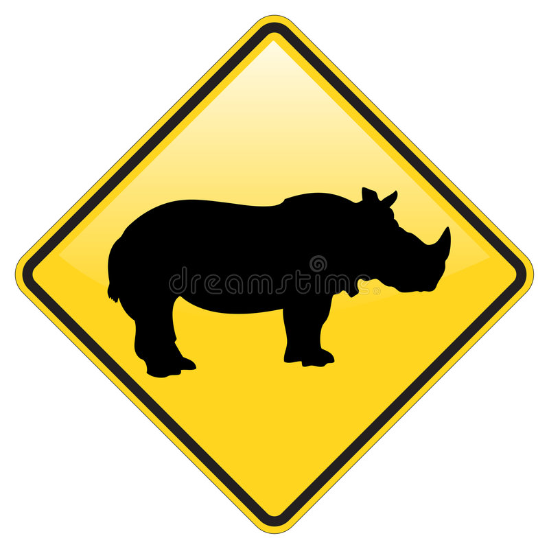 Download Rhino Warning Sign stock vector. Image of signal, icon - 8777637