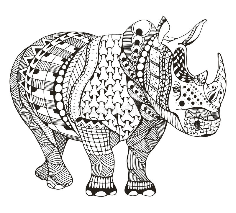 Rhino zentangle stylized, vector, illustration, freehand pencil, doodle, black and white, pattern, hand drawn. stock illustration