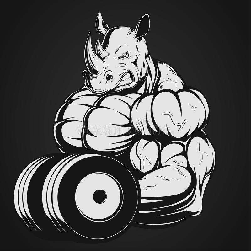 Rhinocéros avec l'haltère illustration stock