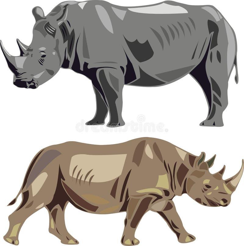 Rhinocéros blancs et rhinocéros noirs illustration de vecteur