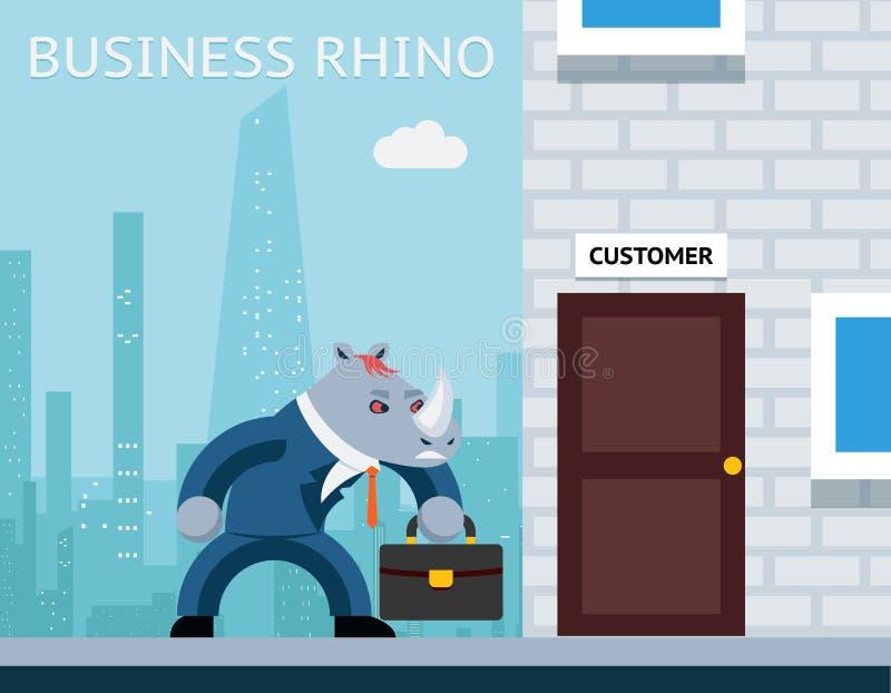 Rhinocéros d'affaires Homme d'affaires fâché illustration libre de droits