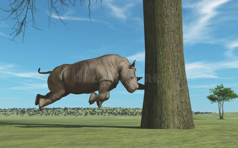 Rhinocéros dans l'arbre illustration stock