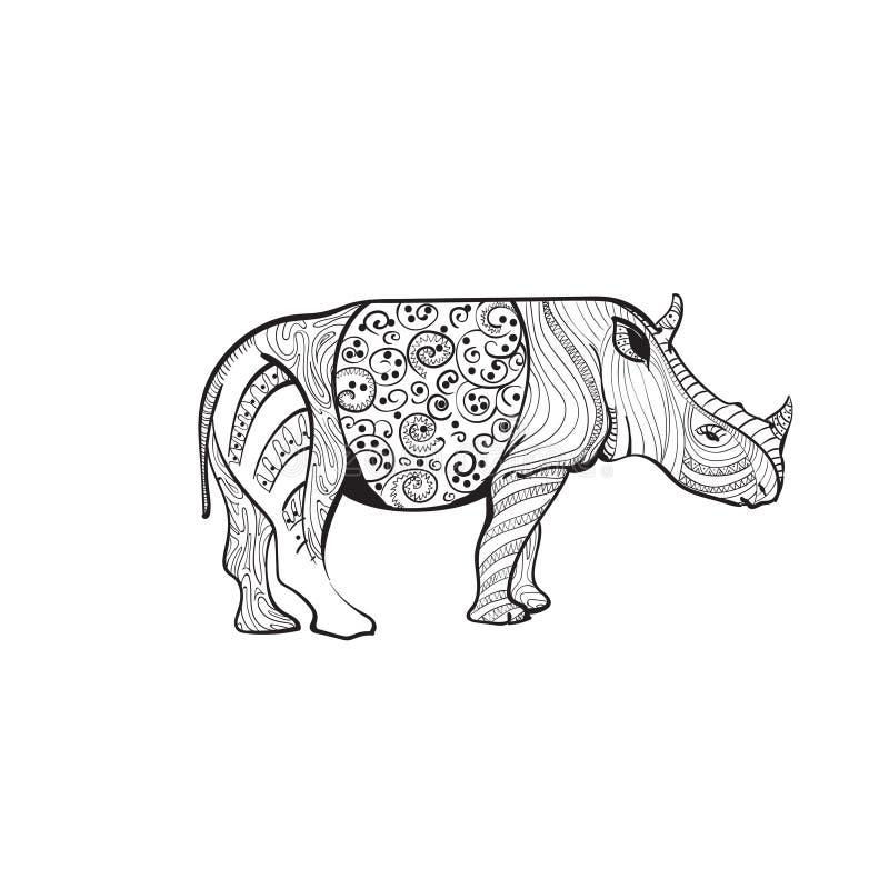 Rhinocéros dessinant intégral animal de Zentangle sur le fond blanc illustration stock