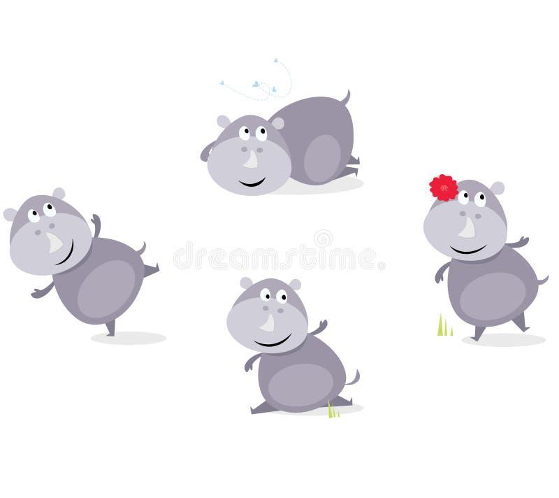 Rhinocéros heureux mignon dans quatre poses illustration de vecteur