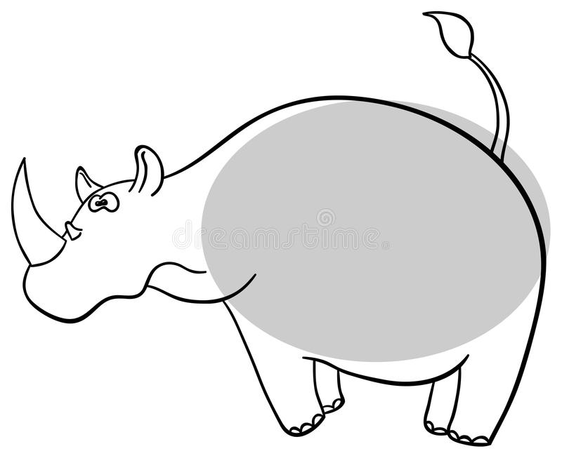Download Rhinoceros stock vector. Image of contour, cute, africa - 24857905