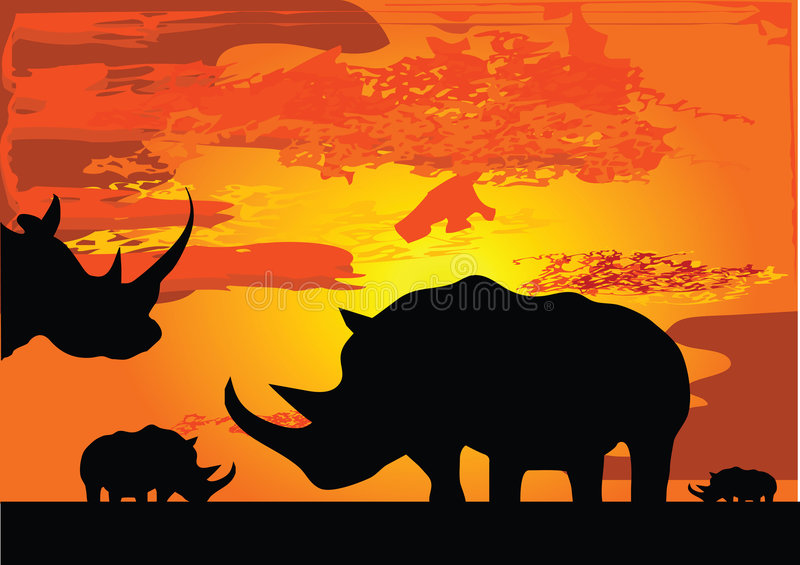 Download Rhinoceros stock vector. Image of large, outdoors, africa - 4524004