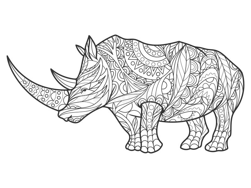 rhinoceros coloring book for adults vector stock vector
