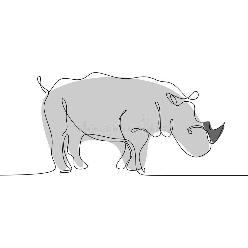 Rhinoceros continuous line art drawing one single artistic minimalism design stock illustration