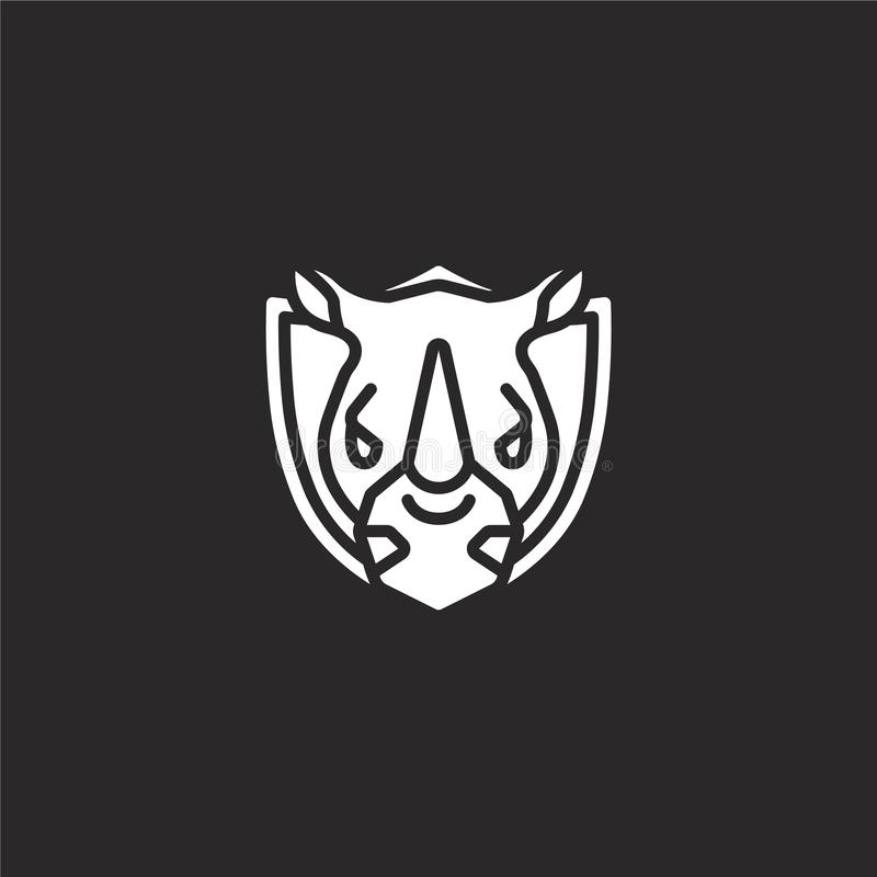 Rhinoceros icon. Filled rhinoceros icon for website design and mobile, app development. rhinoceros icon from filled hunting. Collection isolated on black vector illustration