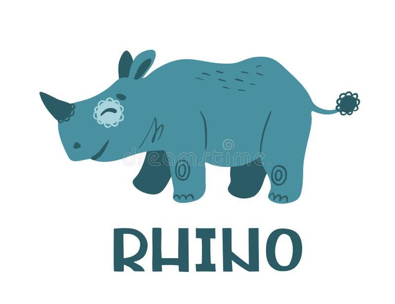 rhinoceros Personaggio dei cartoni animati sveglio illustrazione di stock