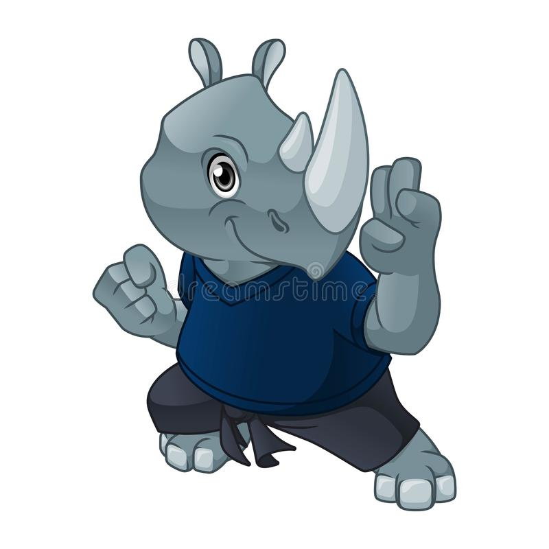 Rhinoceros with Self Defense Pose. Cartoon character design vector illustration royalty free illustration