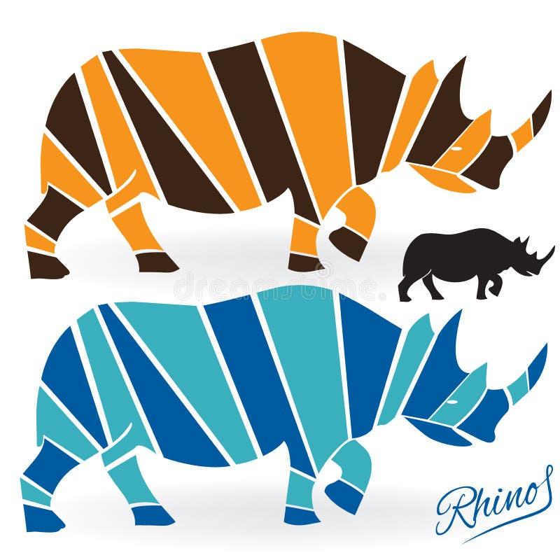Rhinoceros set logo vector illustration