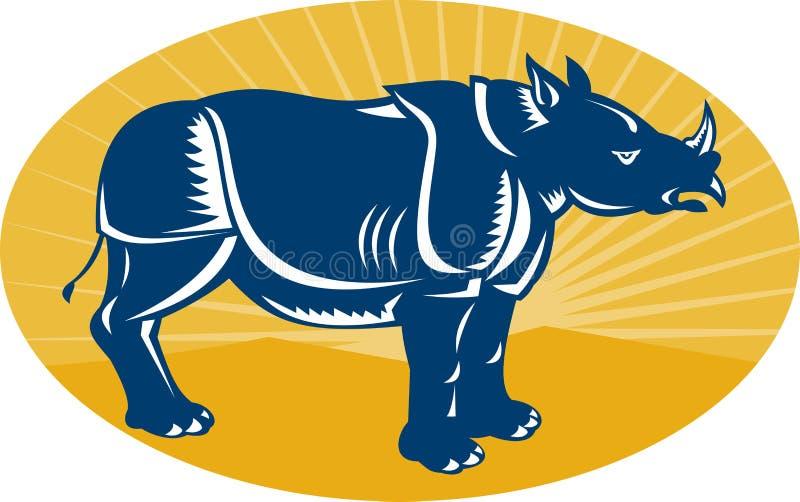 Rhinoceros Side View Woodcut Stock Image