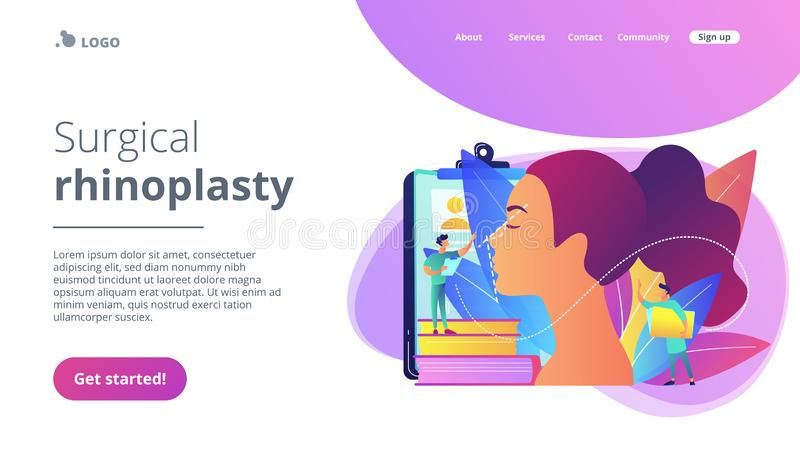 Rhinoplasty concept landing page. Plastic surgeon correcting the form of the woman nose for rhinoplasty. Rhinoplasty, nose correction procedure, surgical royalty free illustration