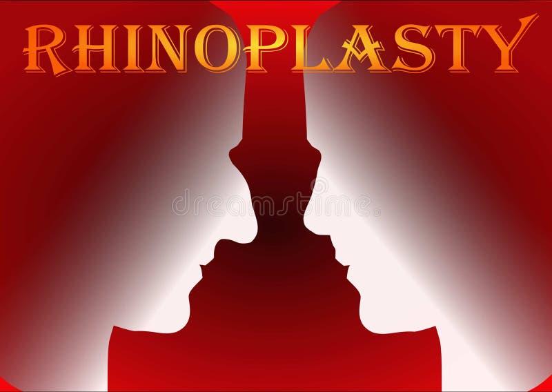 Rhinoplasty. Plastic surgery, nose reshaping, medicine stock illustration